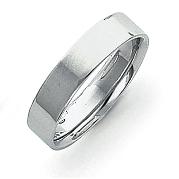 Platinum 5mm Flat Wedding Band Ring - Ring Size Options Range: H to X