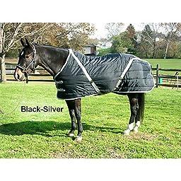 High Spirit Snuggie Pony Stable Blanket, 68-Inch, Black/Silver