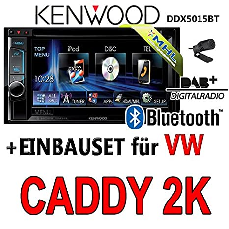 Volkswagen caddy 2-k kenwood dDX5015BT 2-dIN multimédia uSB mHL kit de montage d'autoradio dAB