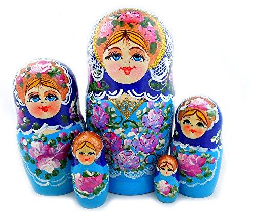 Matreshka Matryoshka Hand Painted Wood 5 Piece Russian Nesting Doll 6 1/2 Inch