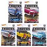 "Hot Wheels Car Culture Trucks Limited Edition Set Of 5 1:64th Scale Collectible Die Cast Metal Toy Cars... Ford F-250,""72 Ford Ranchero,Subaru Brat,Chevy Silverado & Datsun 620"