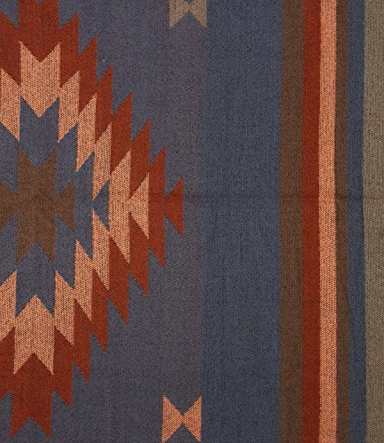 SIX weicher Winterschal mit Ethno-Muster, blau, rot, orange (384-561)