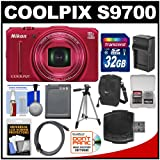 Nikon Coolpix S9700 Wi-Fi GPS Digital Camera (Red) with 32GB Card + Case + Battery & Charger + Tripod + HDMI Cable Kit