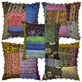 Ethnic Patchwork Designer Tradtitional Silk Cushion Cover 16 X 16 Inches Set 5 Pcs