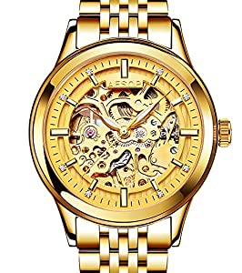 Mens Full Gold Hollow Automatic Mechanical Stainless Steel Luminous waterproof Watches