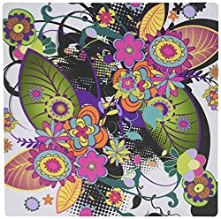 3dRose LLC 8 X 8 X 0.25 Inches Pretty Modern Colorful Funky Flowers Abstract Nature Design Mouse Pad (mp_115397_1)