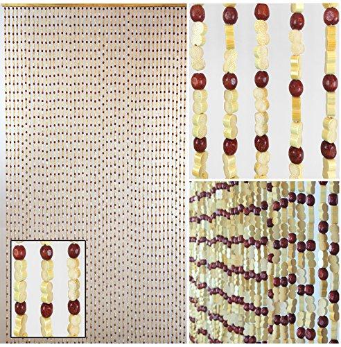 BeadedString Natural Wood and Bamboo Beaded Curtain-45 Strands-77
