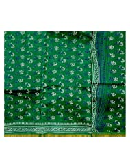 Exotic India Islamic-Green Chanderi Suit With Block-Printed Bootis - Green