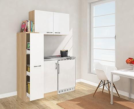respekta MK 130 ESWOSC Mini Kitchen 130cm Including Wall Cabinet White Front Imitation Rough Sawn Oak