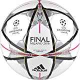 adidas Performance Finale Milano Capitano Soccer Ball, White/Black/Silver Metallic, 4