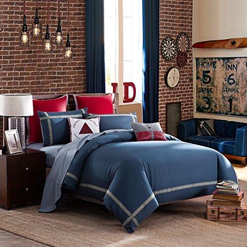 LOVO Ideal Life Bedding Set Duvet Cover Flat Sheet Pillow Sham Twin Navy