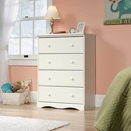 White Wooden Bedroom 4-drawer Chest Storage Cabinet | This Lovely Cottage or Princess Style Wood Bedroom Furniture Charms Any Girls or Kids Bed Room | Features Durable Metal Runners, Safety Stops, and T-lock Assembly System
