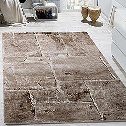 Designer Teppich Modern Trendig Meliert Steinoptik Mauer Muster Wohnzimmer Braun, Grösse:60x100 cm