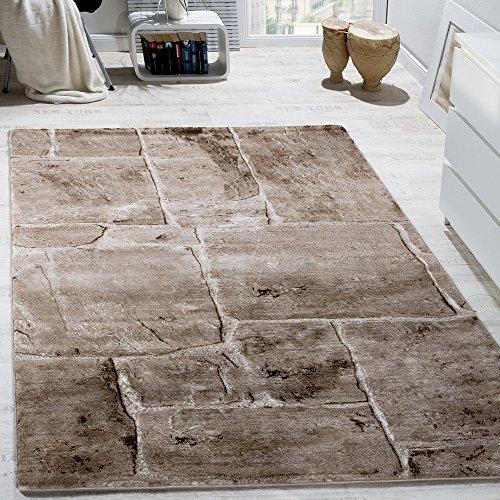 designer-teppich-modern-trendig-meliert-steinoptik-mauer-muster-wohnzimmer-braun-grosse120x170-cm