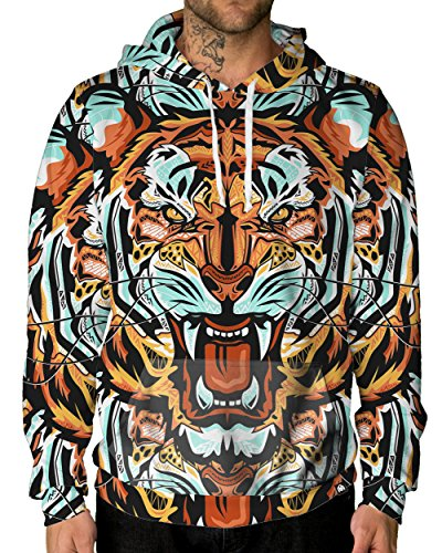 INTO THE AM Fractal Tiger Premium All Over Print Rave Hoodie (Small)
