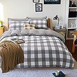 HlA-Bettwsche-Eine-idyllische-kleine-Saika-reine-Baumwolle-4-Stck-tief-blauen-Bettberwrfen-durch-kleine-Gnseblmchen-20-m-155210cm-Doppelbett-6-graues-Raster-18-ft