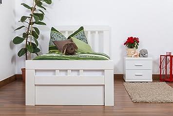 """Bettgestell / Gästebett """"Easy Sleep"""" K8 inkl. 2 Schubladen und 1 Abdeckblende, 90 x 200 cm Buche Vollholz massiv weiß lackiert"""