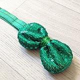 Revestimientos de fiesta, diseño con lentejuelas, diseño de lazo en relieve, color verde oscuro