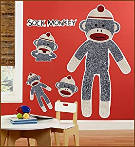 Birthday Express - Sock Monkey Red Giant Wall Decals