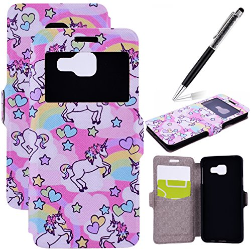 GrandEver-Coque-PU-Cuir-Flip-Etui-Wallet-Portefeuille-Housse-Bookstyle-avec-Fentre-Douverture-Case-Cas-Portable-Holster-Back-Cover-Souple-Licorne-Cur-arc-en-ciel-Motif-Fonction-Stand-Magnetique-Dustpr