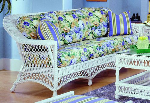 Bar Harbor White Indoor Natural Rattan and Wicker Sofa by Spice Island Wicker image