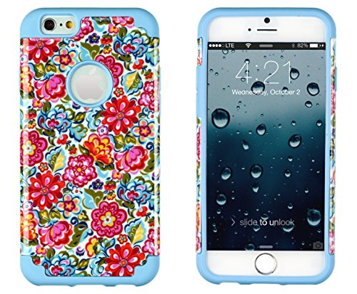 """Iphone 6, Dandycase 2In1 Hybrid High Impact Hard Colorful Blooming Flowers Pattern + Sky Blue Silicone Case Cover For Apple Iphone 6 (4.7"""" Screen) + Dandycase Screen Cleaner"""