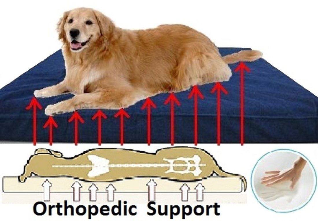 Extra Large Orthopedic Memory Foam Pet Dog Bed with Heavy Duty Waterproof Washable Denim Cover