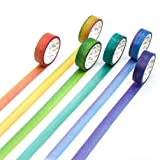 Washi Tape Set Rainbow Masking Tape Roll Writable Japanese Washi Paper 6 Rolls for Kids DIY Gift Wrapping with Colorful Design and Patterns (Color: Rainbow, Tamaño: 6 Pcs)