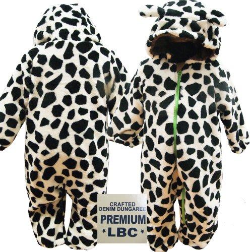 LittleBearClub リトルベアクラブ うしさんなりきりモケットジャンプスーツ ブラック×ホワイト [Baby Product]