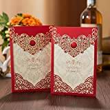 PONATIA 25PCS Laser Cut Invitations Cards Luxury Diamond Gloss Design Wedding Bridal Shower Invitation Baby Shower Engagement Birthday Invitation Graduation (Red)