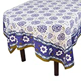 "Handmade Indian 60"" X 102"" Rectangular Tablecloth - Beautiful Blue And Green Floral Cotton"