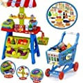 Large Set of 108 Pieces Childrens Market Stall & Shopping Trolley Basket Play Food Set Toy Shop Kitchen