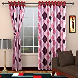 Ajay Furnishings 2 Piece Polyester Modern Door Curtain - 7 ft, Pink