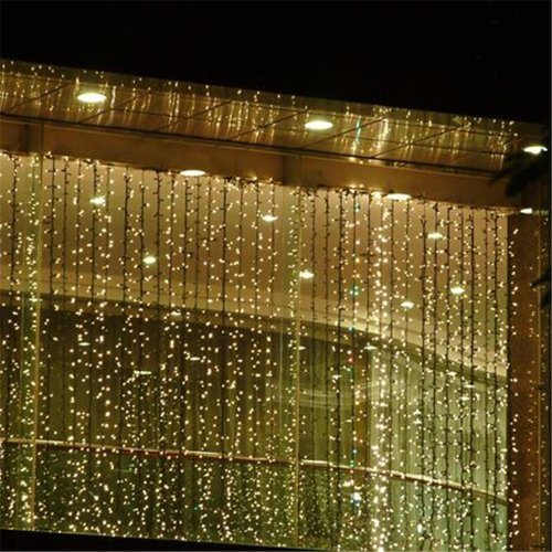Fuloon 8M X 3M 800 Led Outdoor Party Christmas Xmas String Fairy Wedding Curtain Light 8 Modes For Choice 110V (Warm White)