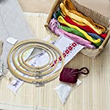 Caydo 4 Pieces Embroidery Hoop Set Bamboo Circle Cross Stitch Hoop Ring
