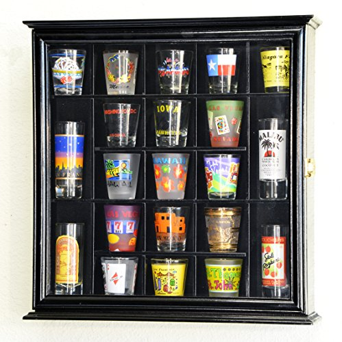 21 Shot Glass Shotglass Shooter Display Case Holder Cabinet Wall Rack 98% UV Lockable -Black (Shot Glass Wall Display compare prices)