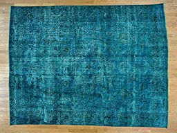 10\'x13\' Teal Overdyed Worn Down Hand Knotted Persian Tabriz Oriental Rug G24412