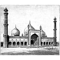 ArtzFolio Victorian Engraving Of The Jasma Masjid Delhi India - Large Size 34.9 Inch X 30.0 Inch - UNFRAMED PREMIUM...