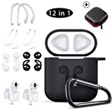KHTONE AirPods Case, 12 in 1 Silicone AirPods Accessories Set Protective Cover, Compatible with Apple AirPods Charging Case,Watch Band Airpods Holder/Ear Hooks/Keychain//Carrying Box (Color: Black 12 in 1)