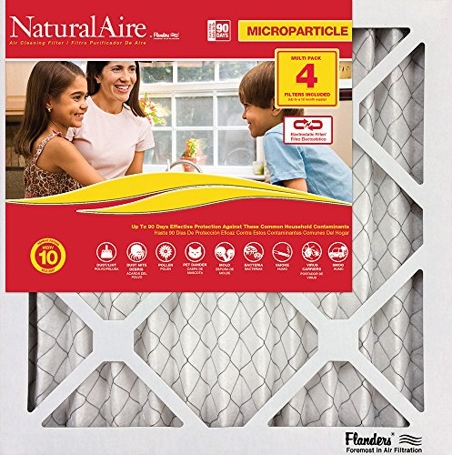 Flanders PrecisionAire 85756.012036 NaturalAire Micro Particle Red Pleat Air Filter (4 Pack), 20 x 36 x 1