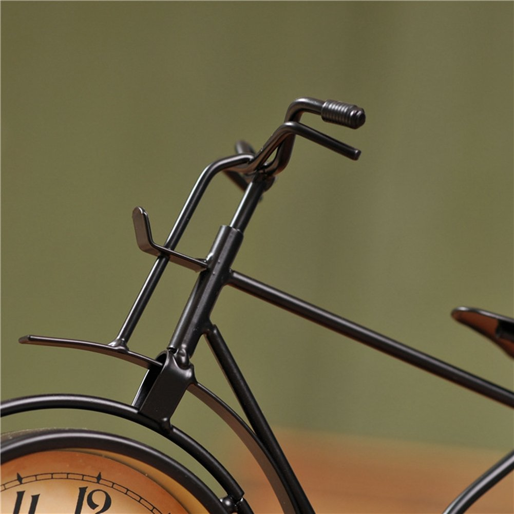 NEOTEND Handmade Vintage Bicycle Clock Bike Mute Black Table Clock Black Color 6