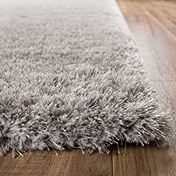 "Shimmer Shag Silver Grey Solid Modern Luster Ultra Thick Soft Plush Plain Area Rug 8 x 10 ( 7'10"" x 9'10"" ) Contemporary Retro Polyester Textured Two Length 2"" Pile Yarn Easy Clean Fade Resistant"