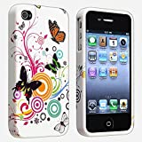 INSTEN White Autumn Flower with Butterfly TPU Rubber Skin Case Compatible With Apple iPhone 4S AT&T / Verizon / Sprint