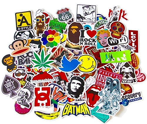 "StickerFactory, confezione da 100 pezzi) per set di adesivi in vinile, diversi stili assortiti, Skateboard e Snowboard-Trolley per portatile Macbook-Adesivi per confezione, stile Vintage, motivo: Pop Art, scritta in inglese: ""Super Cool Stickers Pack"