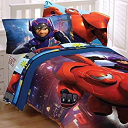5pc Disney Big Hero 6 Full Bedding Set Robot Prodigy Comforter and Sheet Set