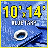 10 X 14 Blue 6-mil Waterproof Poly Tarp Camp Tarp 10x14 Tarpaulin for Camping Tent Shelter Shade Canopy etc.