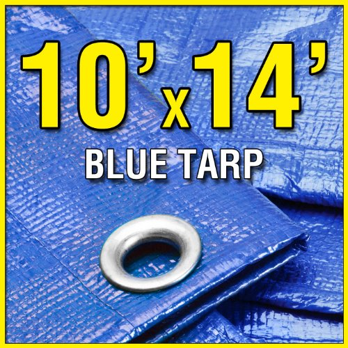 Grizzly Tarps GTRP1014 10' X 14' Blue Multi-Purpose 6-mil Waterproof Poly Tarp Cover 10x14 Tent Shelter Camping Tarpaulin by Grizzly Tarps