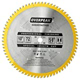 OVERPEAK 10-Inch 72 Tooth Fine Finish Saw Blade ATB General Purpose Circular Saw Blades with 5/8-Inch Arbor, for Father's Day Gift (Color: Multi, Tamaño: 10-Inch 72 Tooth)