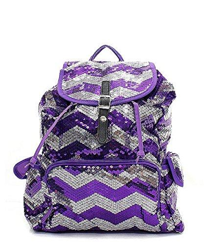 Purple Sequin Chevron Stripe Backpack Handbag