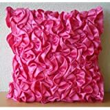 Vintage Fuchsia - 16x16 inches Decorative Throw Fuchsia Pink Satin Pillow Covers with Satin Ruffles